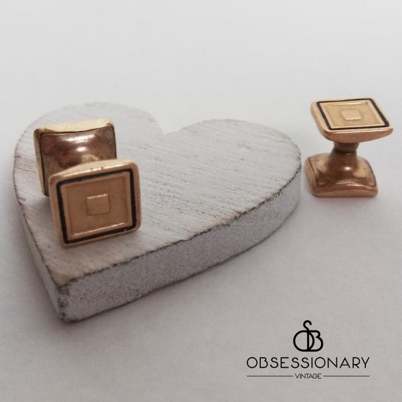 1920s cuff links \u2022 vintage chain link black glass /& 14K gold plate squares with etched border