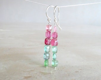 Tourmaline earrings, Rainbow Multi color cushion earrings, Autumn October Birthstone, Birthday gift for her gift for BFF, Tourmaline jewelry