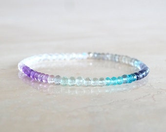 Semi precious  gemstone bracelet, Mother's gift for her, Multicolor mixed ombre with Aquamarine, Topaz, Sapphires Moonstone elastic