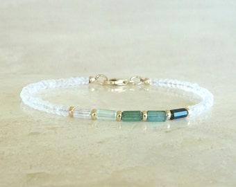 Tourmaline bracelet Ombre blue teal Tourmaline Tubes & Rainbow Moonstone Ombre Tourmaline Birthday gift for her bi-color Tourmaline gemstone