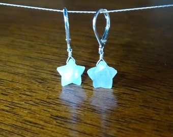 Celestial earrings, Christmas gift for her, Moonstone star earrings, Cosmic jewelry, Inspirational gift