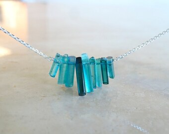 Blue Tourmaline sticks necklace, OOAK  Birthday gift for her, Tourmaline crystals,Raw stone Raw Indicolite  jewelry