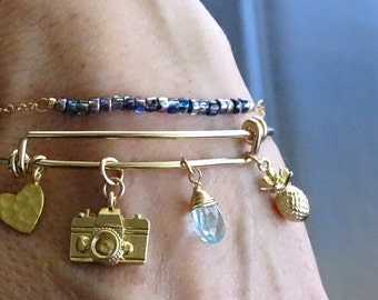 Build your own charm bracelet, Personalized gift gold filled Birthday gift,  Custom family bracelet, Your story, Custom charm bracelet