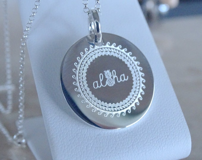 Featured listing image: Aloha necklace, Graduation gift for her, Tropical birthday gift Live Aloha, Custom Personalized Engrave your own jewelry, Hawaii pendant