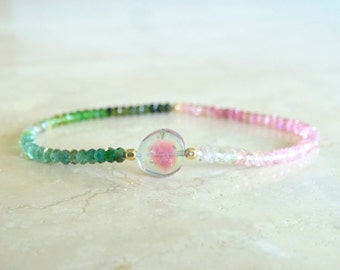 Watermelon Tourmaline bracelet October Birthstone Birthday gift for her Tourmaline beaded Bi-color tourmaline slice bracelet