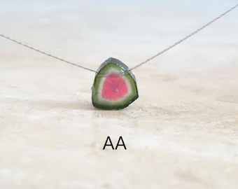 Watermelon Tourmaline necklace, October Birthday Gift for her, OOAK Tourmaline slice set in sterling silver or gold filled gemstone necklace