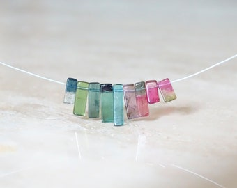 Rainbow Tourmaline sticks necklace,  Birthday gift for BFF, gift for her, multi-color gemstone jewelry