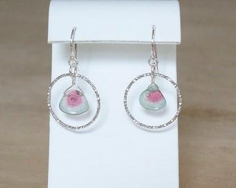Watermelon Tourmaline earrings, October Birthday gift for her,  Bi-color Tourmaline slice silver dangle gemstone jewelry