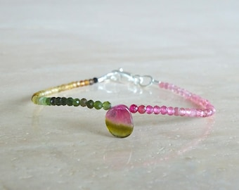 October Birthday gift for her, Watermelon Tourmaline bracelet, Ultra Dainty stacking Tourmaline beaded