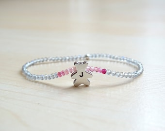 Pink Sapphires and Labradorite bracelet, personalized birthday gift for girl
