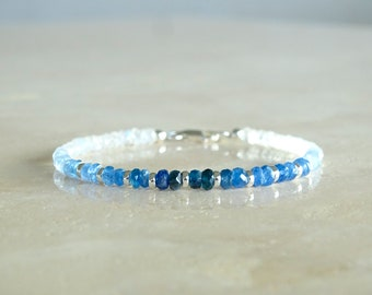 Ombre Blue Sapphire bracelet, September Birthday Gift for her, Delicate shades of blue Sapphire moonstone jewelry, dainty gemstone