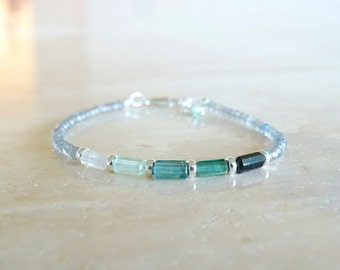 Blue Teal Tourmaline bracelet, Mother's day gift, Dainty elastic gemstone tubes and Labradorite, Birthday gift for her, stretch gemstone
