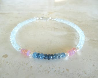 Pink Welo Opal and Aquamarine bracelet, October gift Birthday gift for her, Graded blue Ombre Blue and pink jewelry, Birthstone  Gift