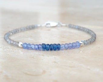 Tanzanite, kyanite and labradorite bracelet, purple gemstone December Birthstone