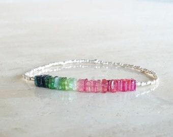 October Birthday gift for her, Heishi Tourmaline bracelet Stretch beaded elastic Square skinny, gift  for BFF Stretch rainbow gemstone