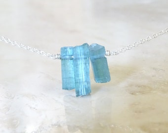 Raw blue tourmaline necklace, Mother's day gift for girlfriend, Rough Indicolite sticks, Natural gemstone crystals jewelry, Birthday gift