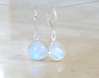 Rainbow Moonstone earrings, Mother's day gift for girlfriend, June Birthstone Birthday gift for her Celestial Jewelry Inspirational