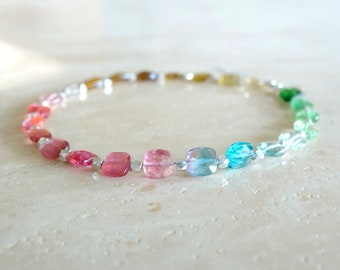 Rainbow Tourmaline bracelet Bi-color Tourmaline square beads Indicolite Tourmaline beaded jewelry October Birthday gift for her gift for BFF