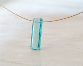 Blue Paraiba Tourmaline solid 14K gold necklace, Birthday gift for her, Indicolite baguette jewelry, Gemstone necklace, Mother's day gift