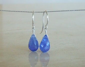Tanzanite Briolette earrings, Periwinkle earrings in sterling silver,  Birthday gift for her, December birthstone Authentic gemstone