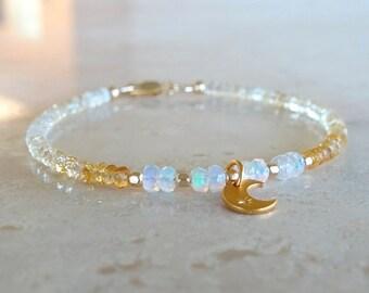 Ethiopian Welo Opal and citrine bracelet,  for her, Golden hues, Moon Celestial gift Inspirational  stretch elastic gemstone