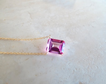 Pink topaz baguette necklace, Valentine's gift, November Birthstone Birthday gift for wife, Authentic gemstone gold filled or silver