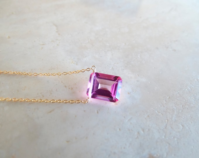 Featured listing image: Pink topaz baguette necklace, November Birthstone Birthday gift, OOAK Christmas gift for wife, Genuine Authentic gemstone gold filled