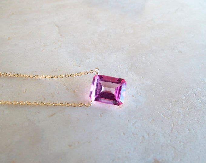 Featured listing image: Pink topaz baguette necklace, Mother's day gift, November Birthstone Birthday gift for wife, Authentic gemstone gold filled or silver