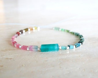 Rainbow Tourmaline bracelet, Elastic teal blue tourmaline gemstone bracelet, Stretch jewelry, Birthday gift for her
