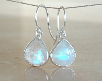 Rainbow Moonstone earrings in silver, June Birthday gift for her, Celestial Jewelry, Inspirational Gift for BFF, June Birthstone
