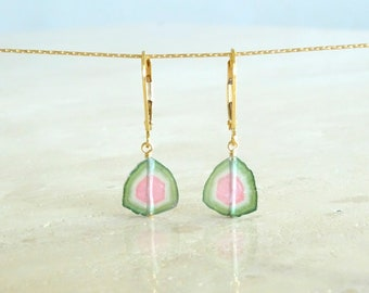 Watermelon Tourmaline earrings, October Birthday gift for her, Gold filled earrings, Tourmaline slice jewelry gemstone earring,