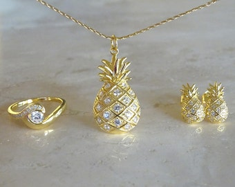 Pineapple necklace Bridesmaids gift for her Aloha necklace Pineapple gift for BFF CZ Pineapple rhinestones Tropical necklace Gift for Beach