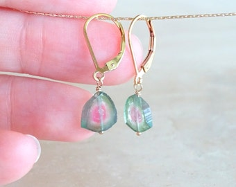 Watermelon Tourmaline earrings, Christmas gift for her, October Birthday, Gold filled Bi-color Tourmaline slice dangle gemstone jewelry