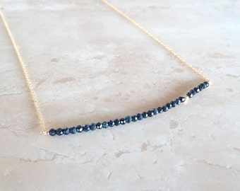 Dainty sapphire bar necklace,  authentic gemstone bar, Mother's day gift for wife, Birthday gift for her, genuine sapphire jewelry