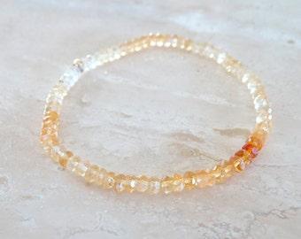 Citrine bracelet, Burnt orange elastic gemstone, November Birthstone, Stretch elastic Golden Honey Citrine jewelry, Birthday gift for BFF