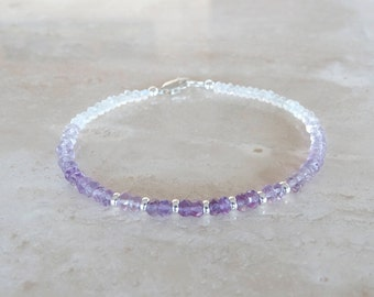 Amethyst bracelet, Birthday gift, Ombre Purple beaded jewelry, February Birthstone gift for her, Rainbow Moonstone delicate shades of purple