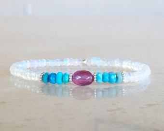 Ethiopian Welo Opal bracelet, OOAK , Birthday gift for her, Authentic Opal and pink Sapphires Elastic beaded