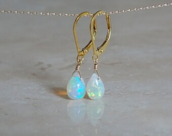 Ethiopian welo opal earrings, Mother's day gift for girlfriend, October gift for her, Flashy Fiery Opal drop Jewelry Opal briolettes jewelry