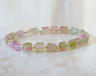 Tourmaline bracelet Colorful Tourmaline raw crystal beads Elastic beaded stretch jewelry October Birthstone Birthday gift for her, for BFF