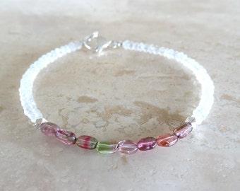 Watermelon Tourmaline bracelet Moonstone and Tourmaline jewelry beaded bracelet October Birthstone Birthday gift for her