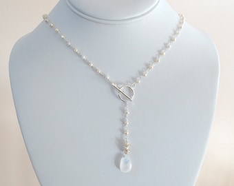 Rainbow moonstone and fresh pearls lariat necklace with toggle clasp, Birthday gift for her, OOAK Christmas gift