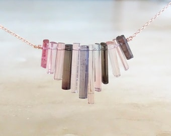 Purple Pink Tourmaline sticks necklace,  Rough crystals, Raw gemstone, October Birthday gift for BFF, gift for her