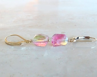Raw Watermelon tourmaline dangle earrings Raw stone earrings Raw Tourmaline earrings tourmaline jewelry Birthday gift for her raw crystal