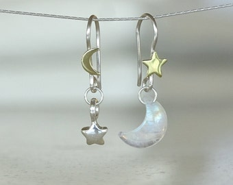 Celestial earrings, Moon and star earrings, Moonstone jewelry, Moon Phase Mismatched Moon Inspirational gift