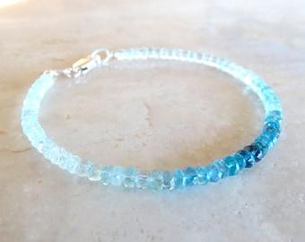 Ombre Blue Aquamarine bracelet, Authentic Aquamarine jewelry, Stacking Graded blue gemstone bracelet, Birthday Gift March Birthstone