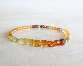 Earthy tones Tourmaline Golden Tourmaline bracelet elastic gemstone Autumn October Birthday gift for her gift for BFF, Stretchy Tourmaline