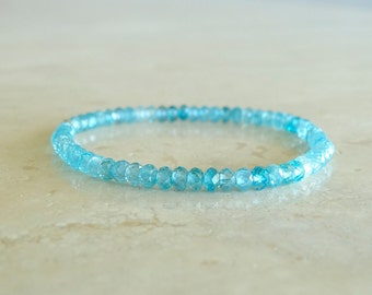 Blue Zircon bracelet, Christmas gift, Elastic gemstone stretch, Layering zircon jewelry, Birthday gift for her, gift for BFF