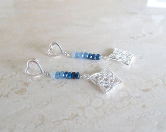Ombre Blue Sapphire earrings Birthday gift for her Ombre Earrings Gemstone Earrings Blue bar Earrings filigree earrings Aloha Earrings
