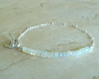Christmas gift for her, Ethiopian Welo Opal bracelet with Silver satellite chain and toggle clasp, Autumn Birthstone October Birthday gift