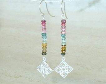 Watermelon Tourmaline earrings Earth tones Gemstone bar Filigree Earrings Tourmaline beaded jewelry, Autumn Earrings Birthday gift for her